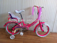Pretty Pink Girls Kids Bike With Toy Seat
