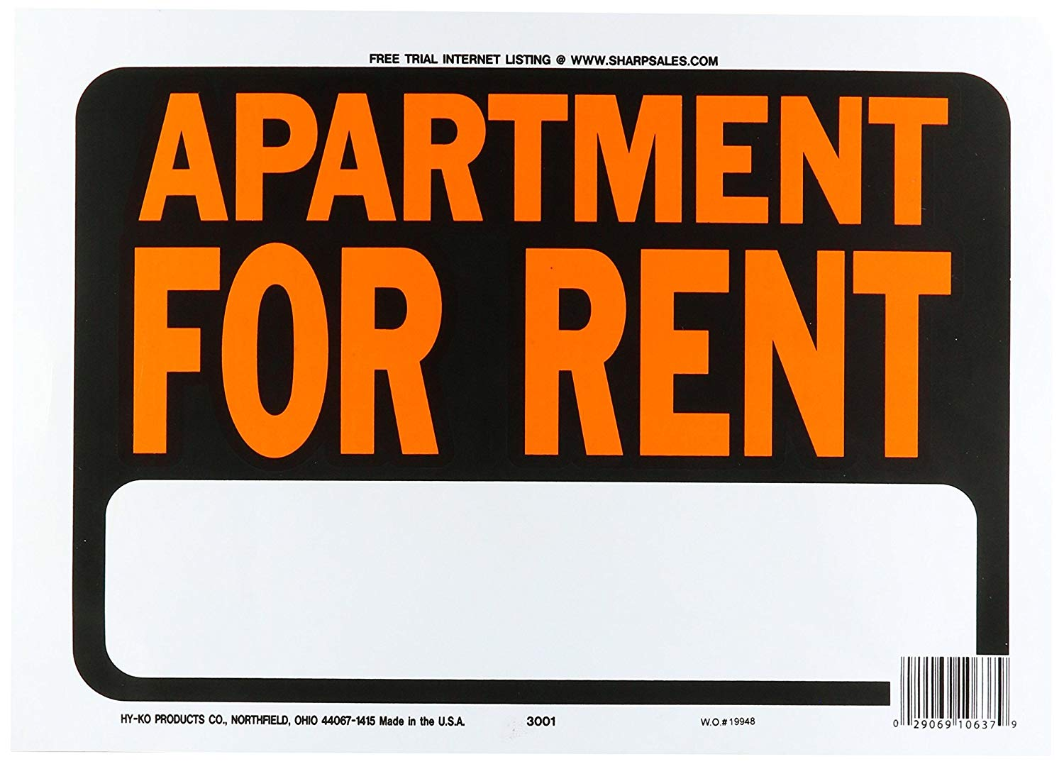 """Hy-Ko """"APARTMENT FOR RENT"""" Residential/Commercial Sign"""