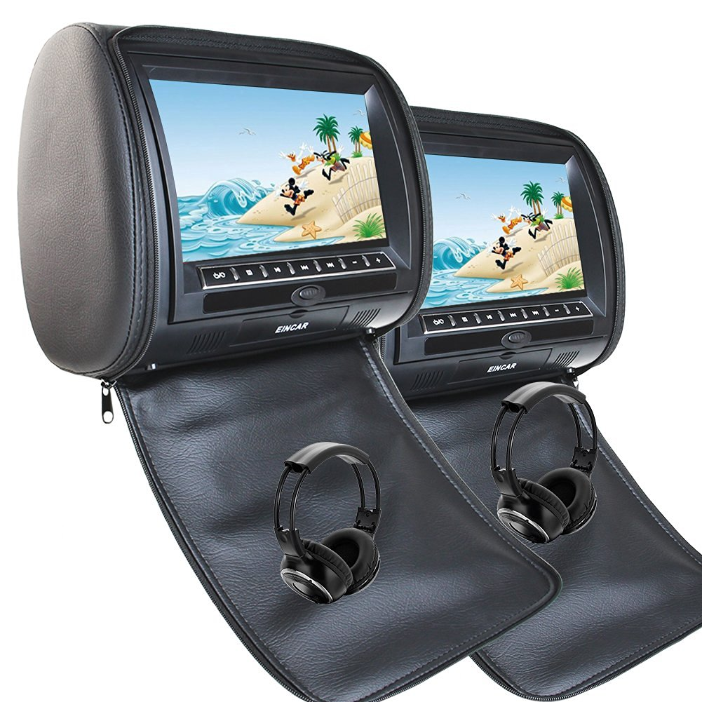 EinCar Black 2 PCS Car Headrest DVD Player 9'' HD display Screen with FM Transmitter Game Disc MP3 IR Headphones x 2