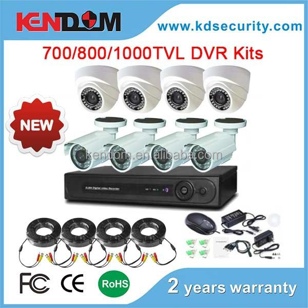 Kendom Latest DVR Kits 700TVL/800TVL/1000TVL Bullet and Dome Camera 8CH CCTV DVR Kit Security System For Indoor & Outdoor Use