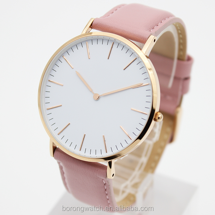 Pink and gold color genuine leather strap easy changing custom gift promotional women watch B2783-02