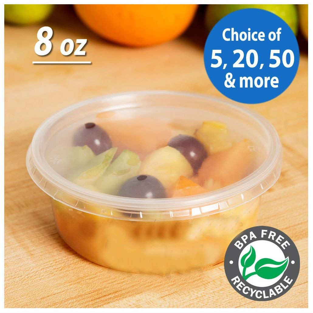 9f7b2c118ea Get Quotations · 8oz Round Deli Food Soup Storage Containers w  Lids  Microwavable Clear Plastic (20