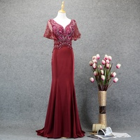 Burgundy/Champagne Color 2019 Mermaid Heavy Beaded Lady Evening Long Dresses Wholesale Short Sleeve Women's Evening Formal Dress