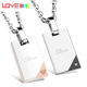 Love Note Design Couple Pendant Necklace Engraved Valentine's Day/Engagement Gift Inlaid CZ Stainless Steel Romantic JM1089