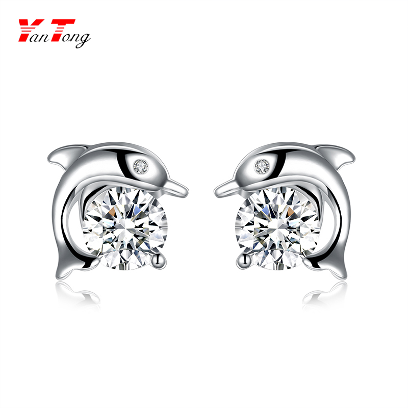S925 Sterling Silver White Cubic Zirconia Dolphin Shape Animal Stud Earrings for Women Girls