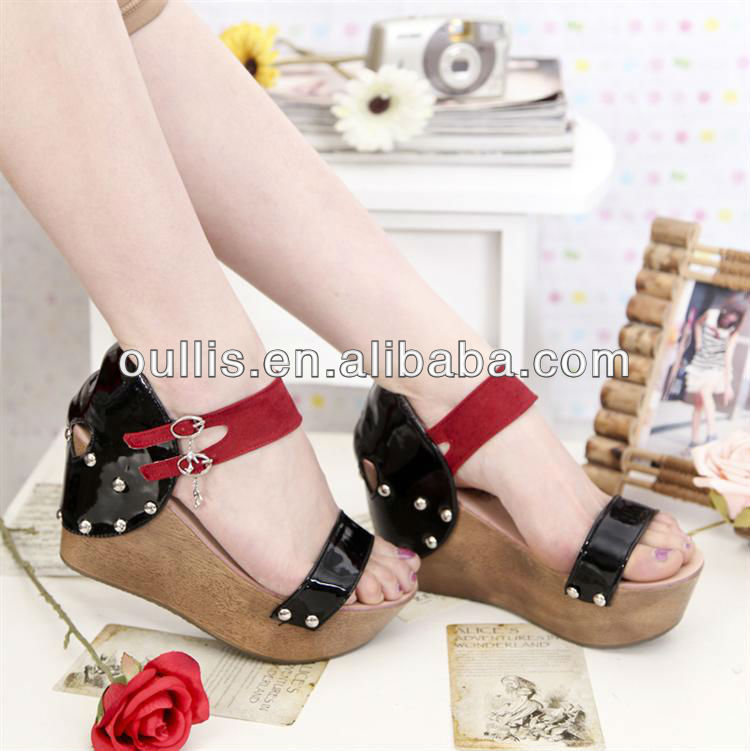 ship stype wooden soles design wedges shoes CP6090