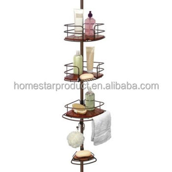 Homestar Oil Rubbed Bronze Tension Pole Shower Corner Teak Caddy Bamboo 3 Tier