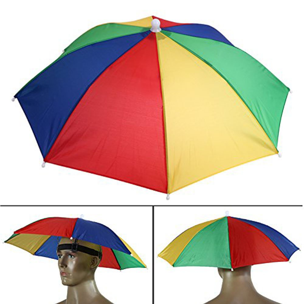 e135211be52e1 Get Quotations · Dreamworth Portable 55cm Umbrella Hat Cap Hands Free with  Head Strap for Camping Fishing Hiking Festivals