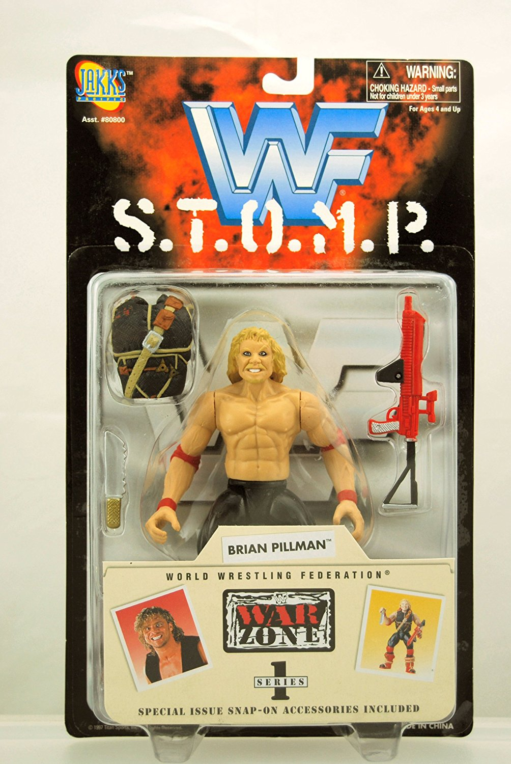 WWF S.T.O.M.P. Series - 1997 - War Zone Series 1 - Brian Pillman Action Figure - With Accessories - Jakks - WWE - Late Wrestling Star - Limited Edition - Collectible