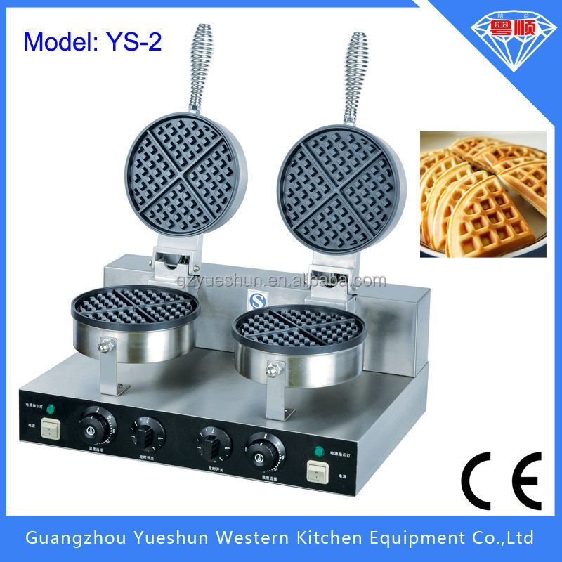 Hot selling stainless steel double plates electric commercial non-stick egg waffle maker