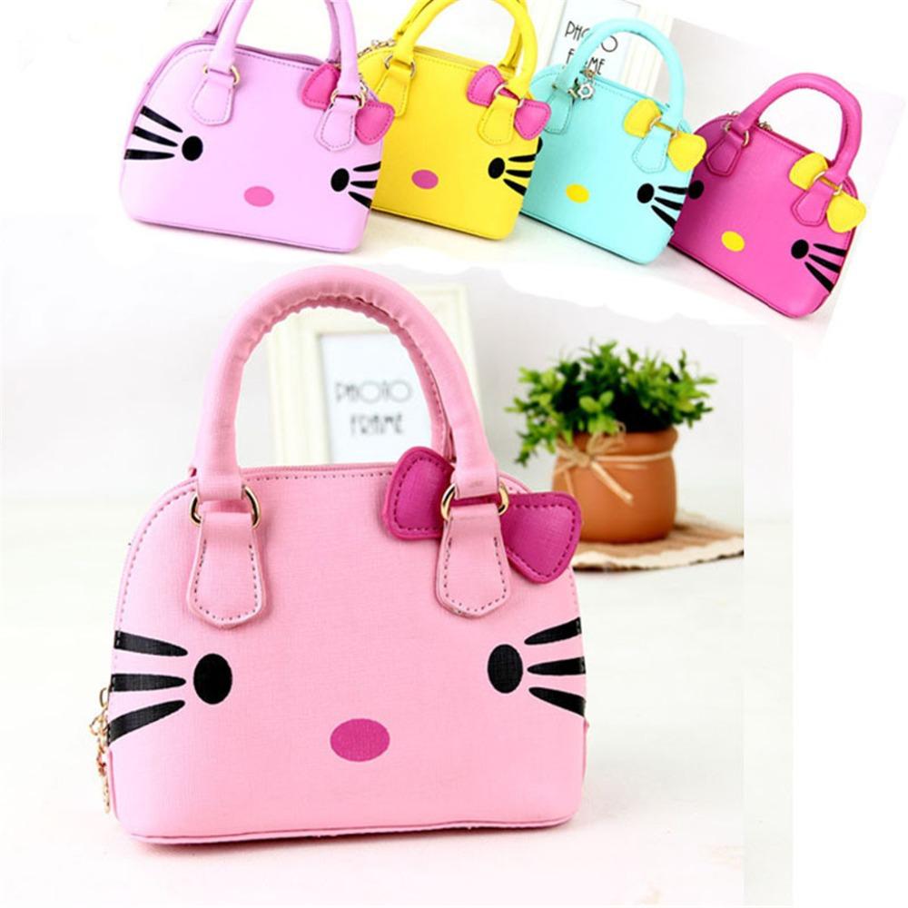 9b460c97b955 Children s bags Fashion Girls Hello Kitty handbags Kids cartoon schoolbags  Little girls mimi leather bags schoolbag for girls