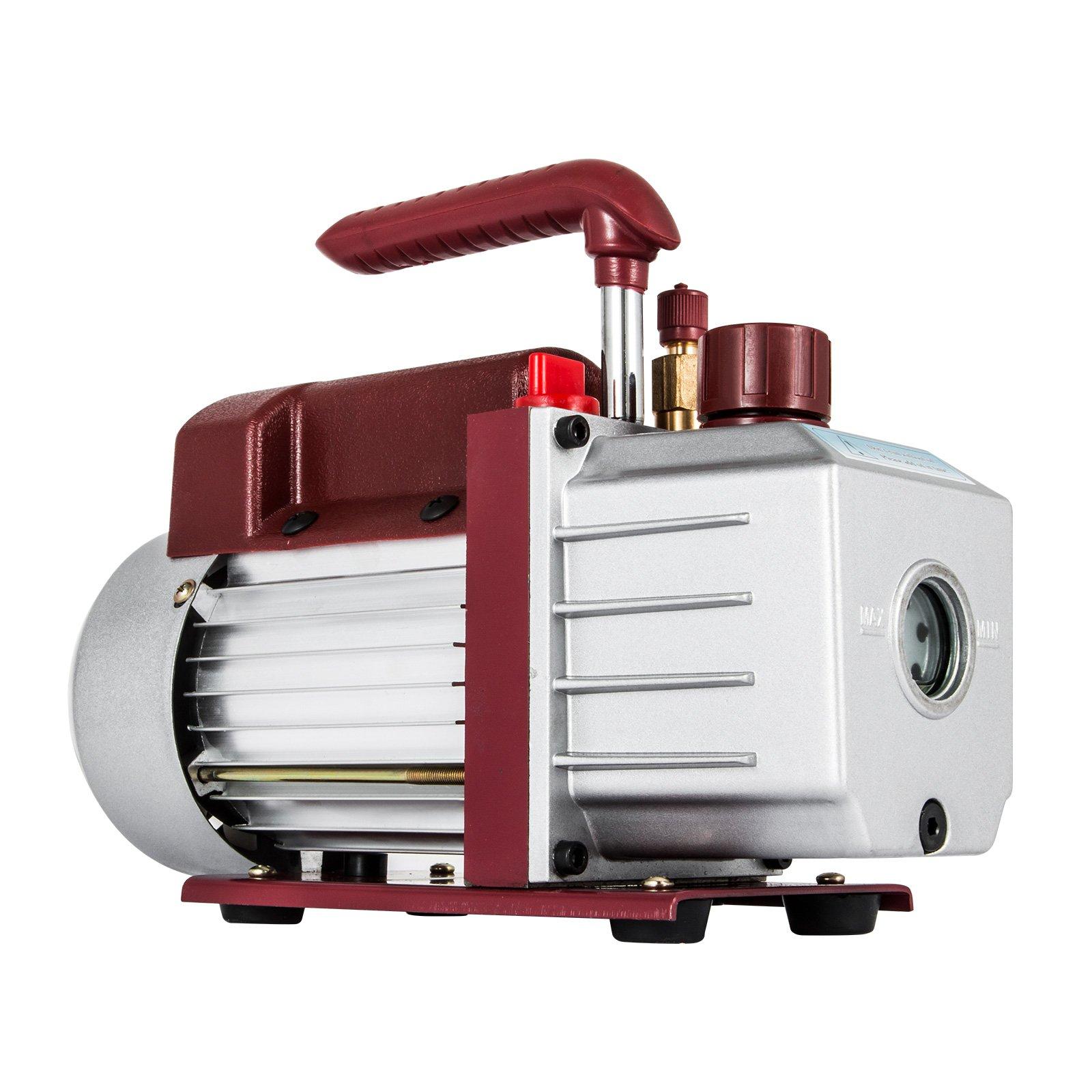 LOVSHARE 4.5CFM 1/3HP Vacuum Pump 110V 2 Meter Valve 1 Stage 5PA Ultimate Air Conditioning Refrigerant Vacuum Pump for HVAC/Auto AC Refrigerant Recharging Degassing wine epoxy Milking cow lamb Medical