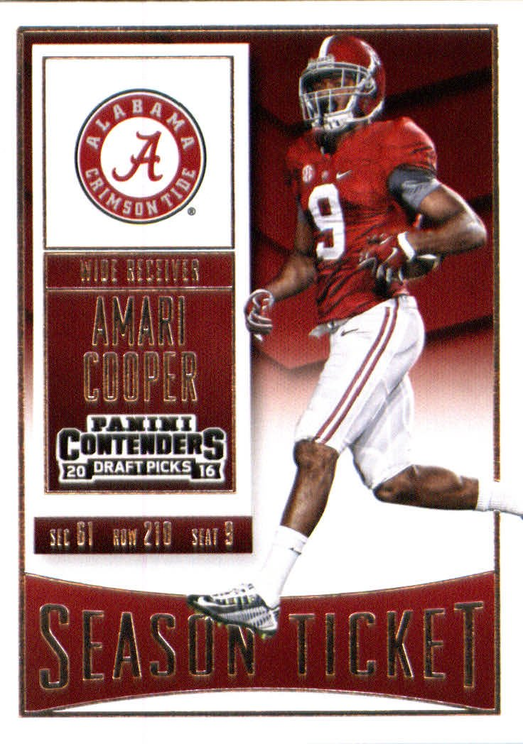 8ae8359d83a ... Oakland Raiders Black Home Jersey. Get Quotations · 2016 Panini  Contenders Draft Picks #7 Amari Cooper Alabama Crimson Tide Football Card  in Protective
