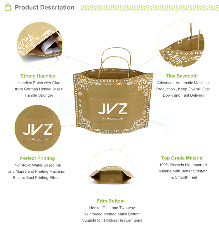 Design personalizado ofício marrom kraft saco de papel de impressão