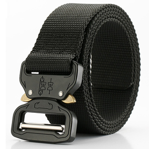 Wholesale Mens Outdoor Cobra Buckle Black Woven Fabric Polyester Nylon Army Military Tactical Belt