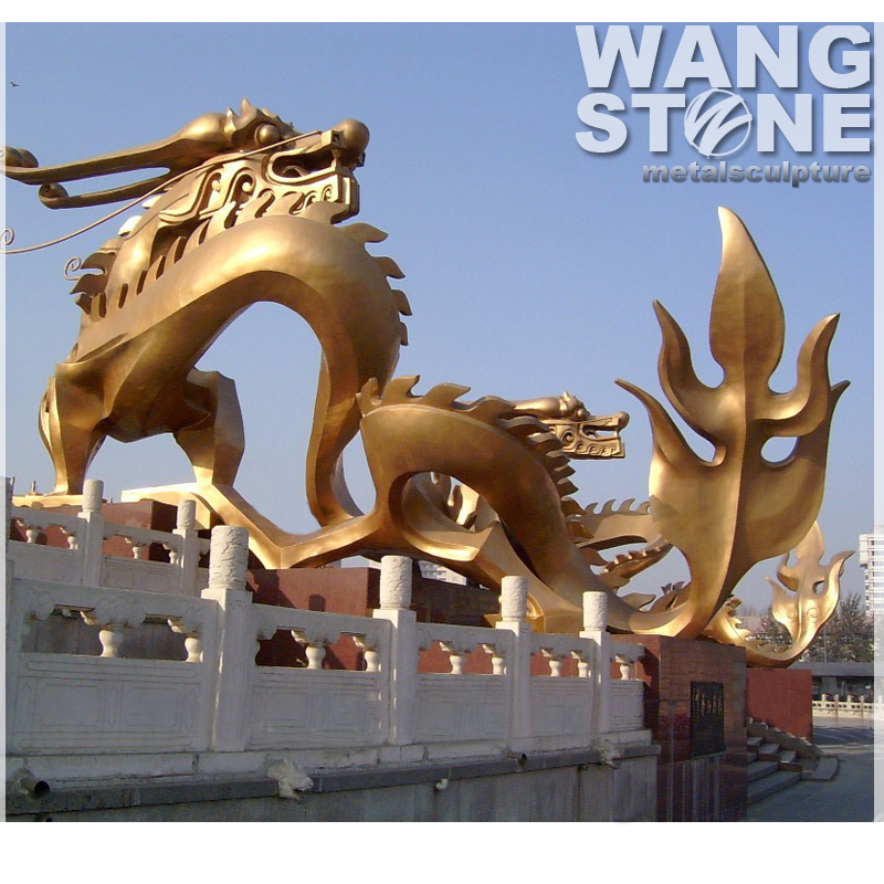 Life Size Brass Garden Chinese Metal Dragon Statues