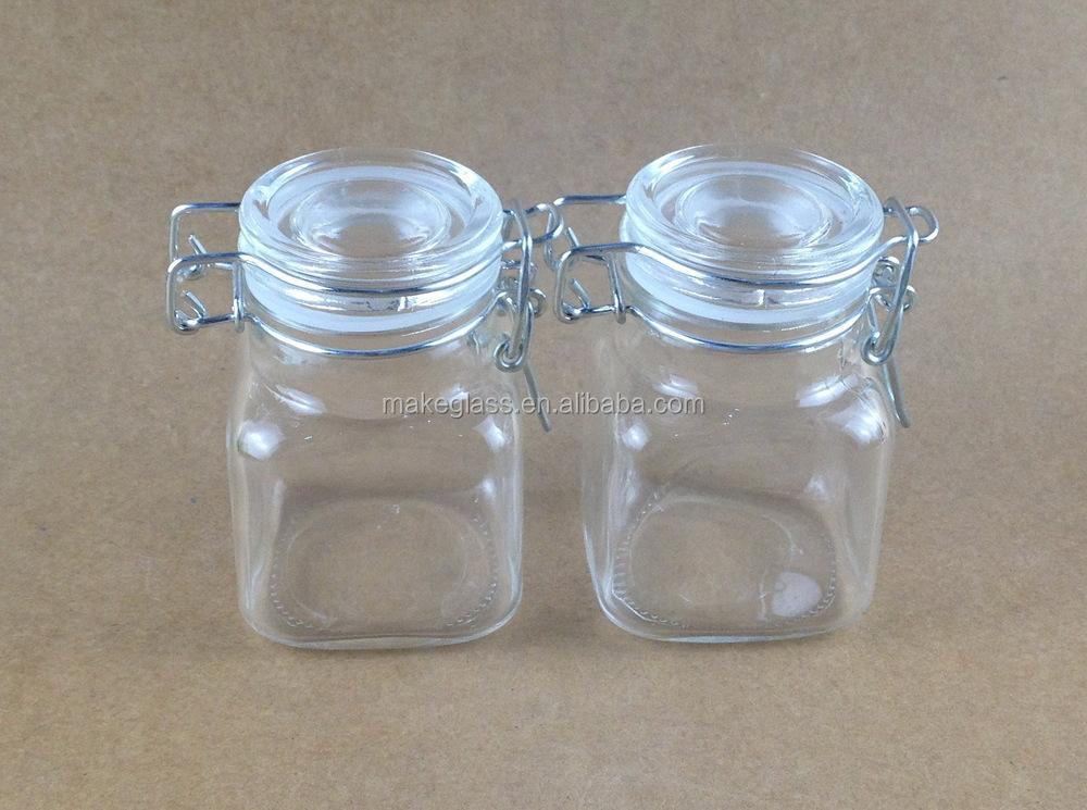 mini bocal en verre pour bonbons pices alimentation carr verre pot avec clip et caoutchouc 100. Black Bedroom Furniture Sets. Home Design Ideas