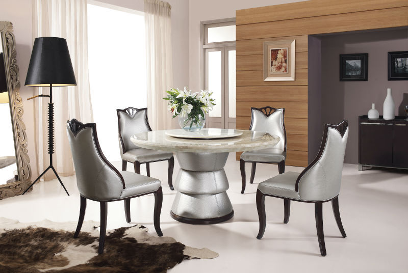 ronda moderna mesa de comedor de mrmol artificial con silla de madera barata
