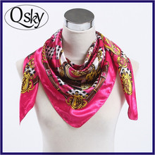 Top Quality Tabby Cheap Price 90*90 Silk Scarf Custom Digital Print