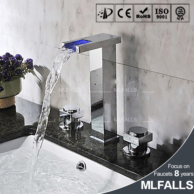 Online Shopping Tall Waterfall Faucet Brass Finish Bathroom Taps ...