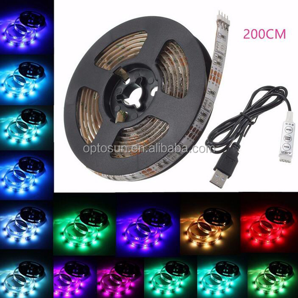 USB LED Strip Light 5050 30LEDs 5V Waterproof RGB LED Light Strip 1m with Mini Controller for Home Theater and TV Backlighting