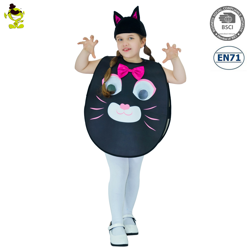 Brand New Cute Kitty Costumes with Hat&Tail Kids Girls Cartoon Mascot Cat Cosplay Fancy Dress for Show Party