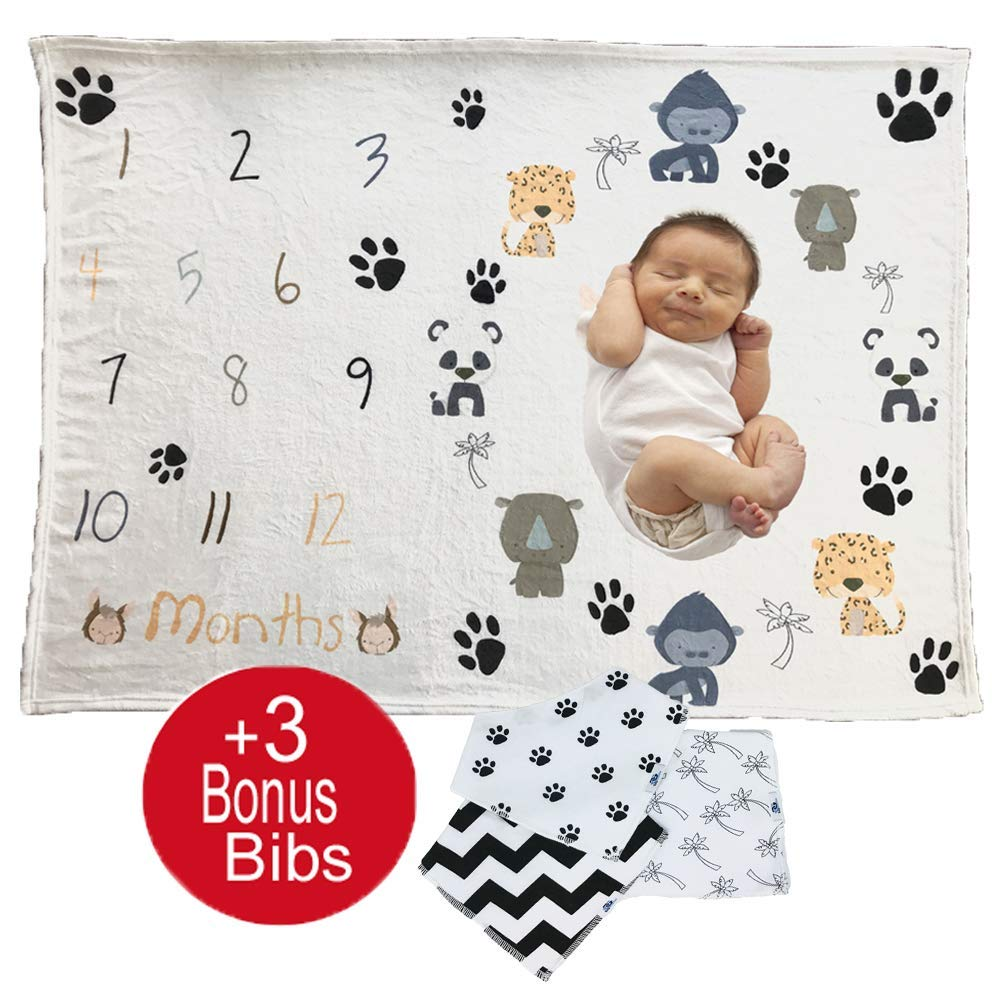 Baby Monthly Milestone or Swaddle Blanket for Boy|Girl with 3 Unisex Bandana Bibs: Infant Photography Backdrop Props. Great for Newborns Keepsake, Baby Shower Gift Set to Capture Memories