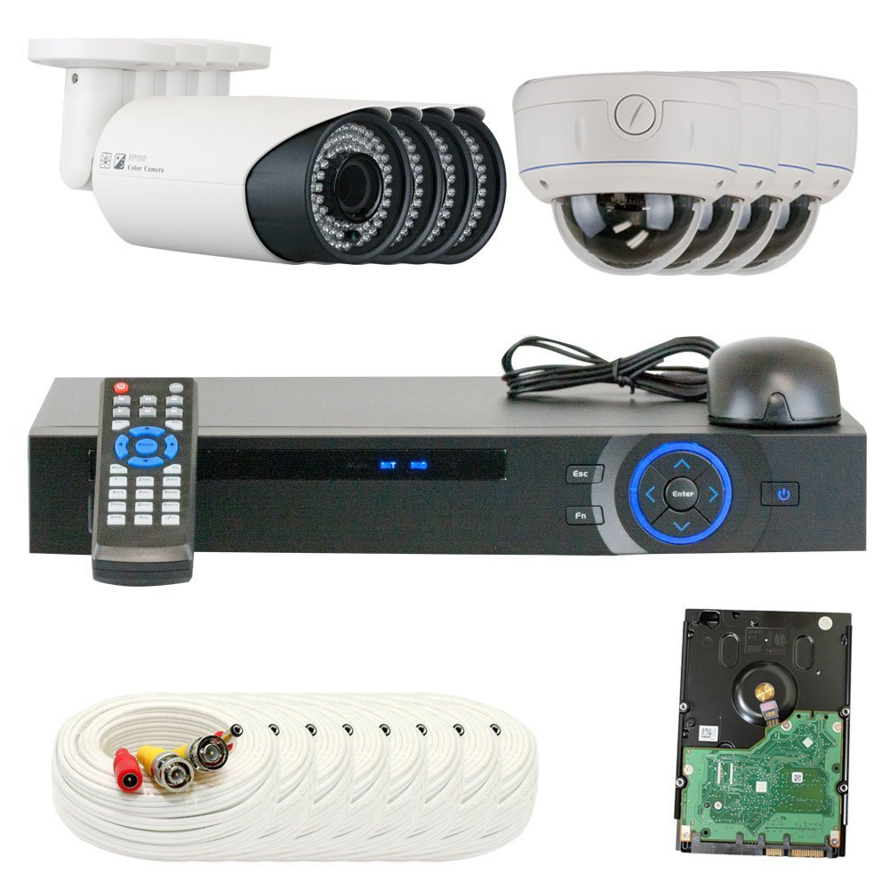 GW Security VD8CHC10 8 CH HDCVI DVR 8 x 1/2.8 Inches, 2.0 MP HDCVI Security Camera, 2.8-12 mm Manual Varifocal Lens (Color)