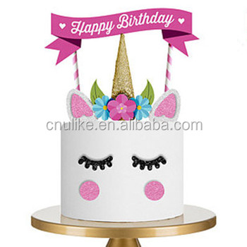 Birthday Party Supplies Pink Gold Purple Unicorn Cupcake Topper Decoration