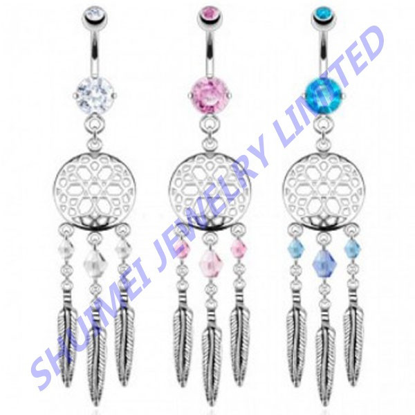 Dream Catcher Web With Crystal Bead Based Feather Dangle Navel& Belly Button Ring Earring Gauge Piercing Body Jewelry 14G
