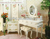 Professional Hotel white wooden dressing table mirrors