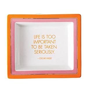 """Twos Company """"Life is too important..."""" Oscar Wilde Tray in Gift Box"""