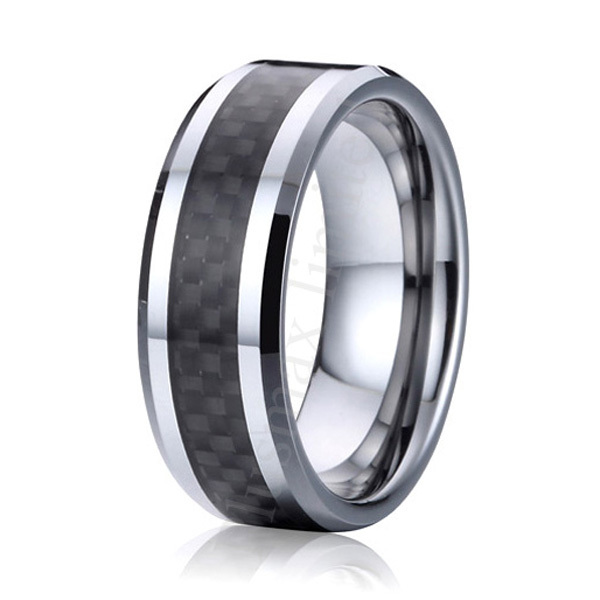 Get Quotations High Polishing Comfort Fit 8mm Black Carbon Fiber Pure Anium Rings Mens Wedding Band Alliance Anniversary