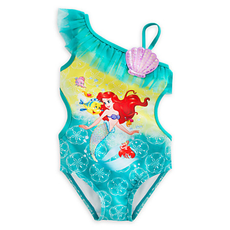 de19d80f5 retail cute girls Swimwear Ariel One Pieces Swimsuit Kids Ruffled Swimming  Suit For Girl Children Bathing Suit with cap-in Children's One-Piece Suits  from ...