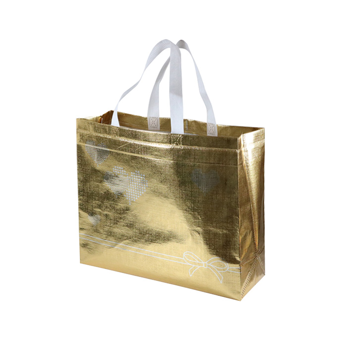 High Quality Reusable Ultrasonic Gold Aluminum Film Tote Non Woven Bag For Shopping Cosmetic Promotion Packaging
