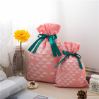 Huadefeng lovely pink color non woven drawstring Japan wedding favor bags