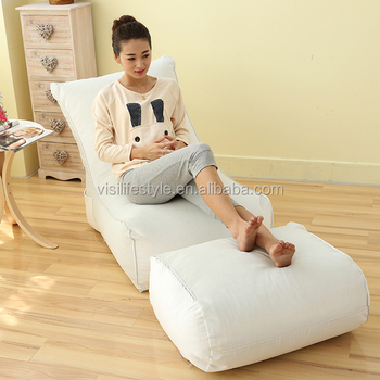 Home Furniture EPS Beads Filling Bean Bag Chaise Lounge Sofa White