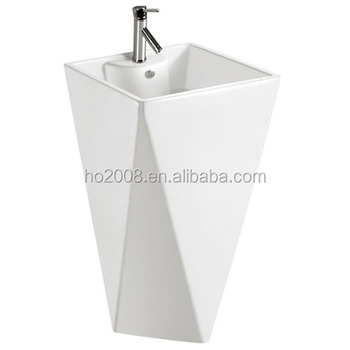 Free Standing Luxury Ceramic Diamond Pedestal Wash Basin