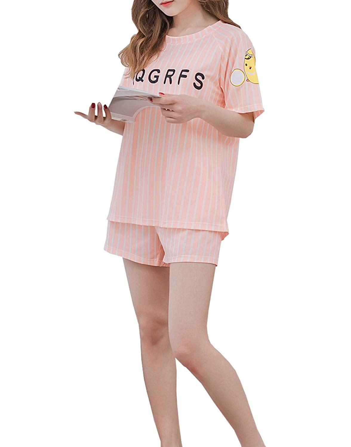 4f3b89b65d9e Get Quotations · MyFav Young Girls Stripe Sleepwear Cute Chick Pattern  Nighty Comfy Pajama Sets