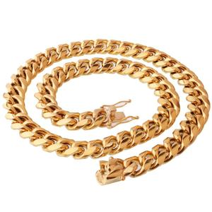 Dainty unique design with gold plated hiphop men curb cuban link chain necklace