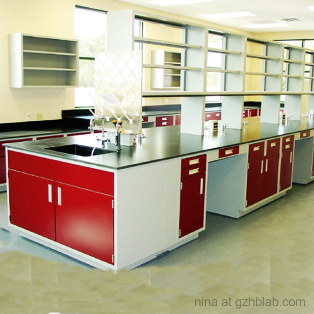 All Steel School Computer Lab Furniture Modern Style Laboratory Work Table With Reagent Shelf