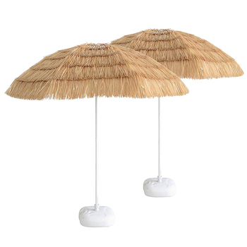 Natural Color Outdoor Palm Beach Plastic Hawaii White Tiki Hula Pp Gr Thatch Straw Umbrella