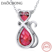 Elegant Fashion Design Sterling Silver Smart Animal Drop Red Zircon Necklace
