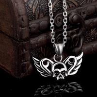 Tryme Brand Men's Jewelry Necklace Men Chain Boy Suspension Punk Rock Staninless Pendant Skull with Wings Mad Max for Men Women