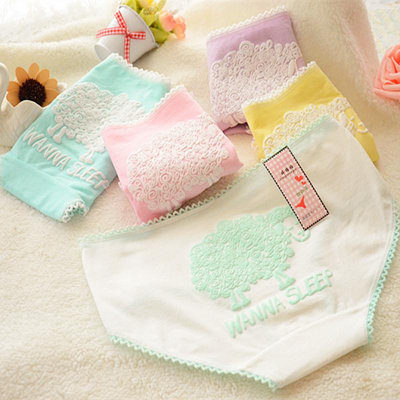 2015 Top quality Underwear Women Cartoon Briefs Girl Cute Cotton Comfort Underpants Candy Color Panties Women