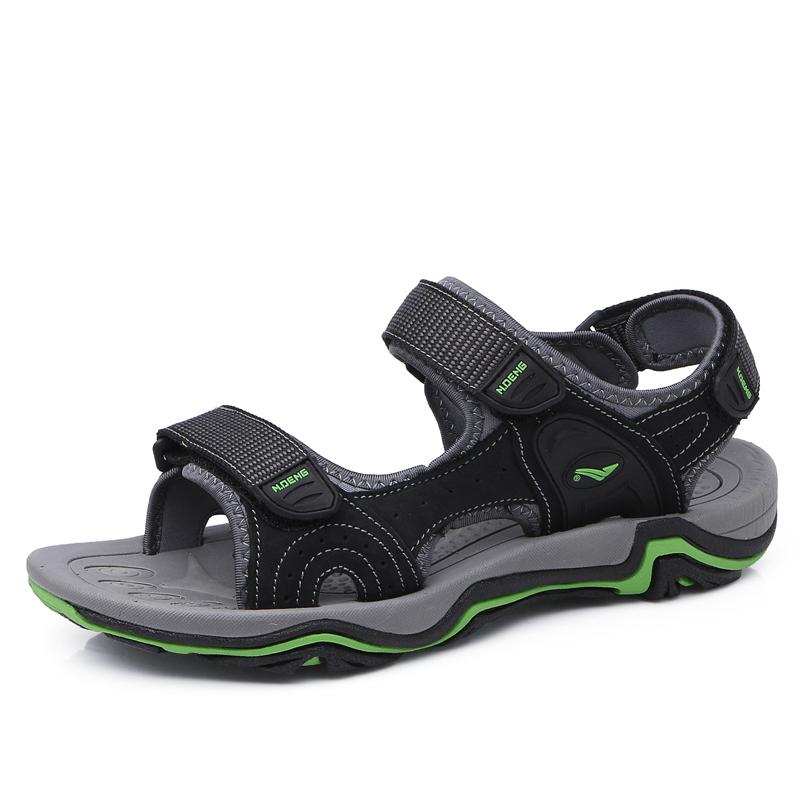 Wholesale men classic style genuine leather open toe beach sandals summer outdoor non-slipper  trekking shoes