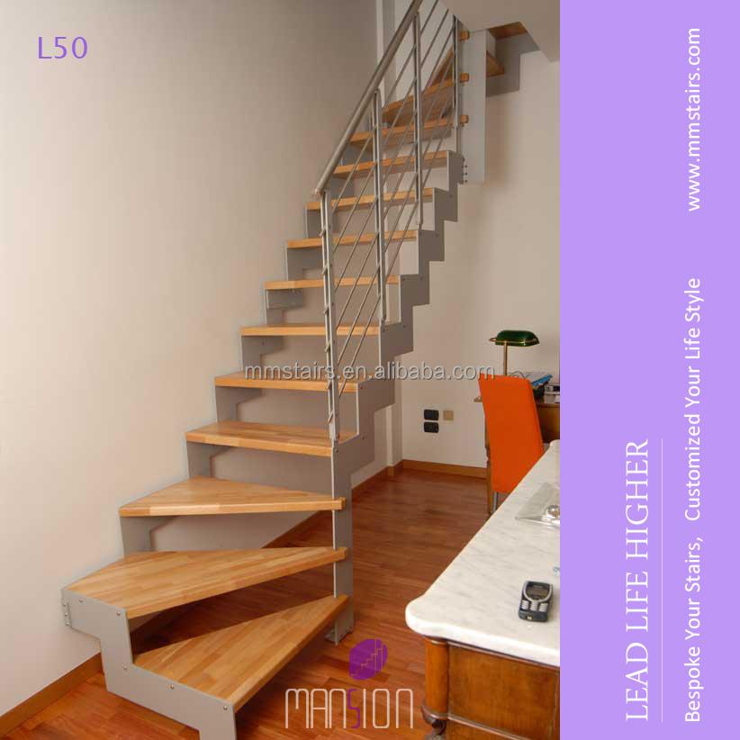 Indoor utilizado escaleras de madera de haya en forma de l for Escalera en l