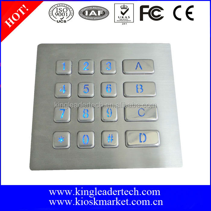 16 keys backlit metal numeric keypad/4*4 matrix keypad
