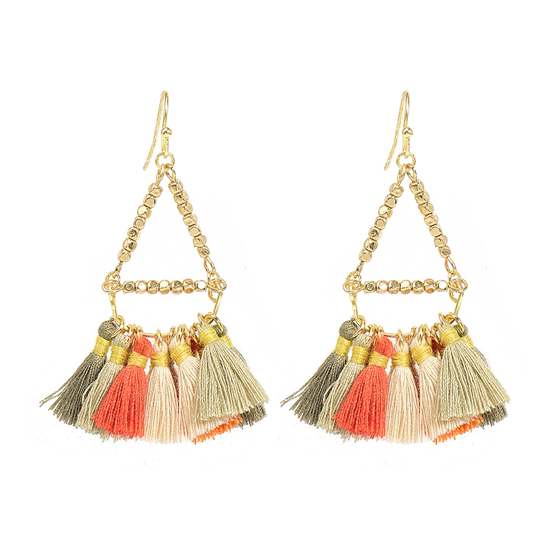Wholesale Mixed Color Cotton Acorn Earrings Gold Color Women Accessories Triangle Earrings Jewelry, Ethnic Groups