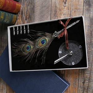 AYFP-0018 Wholesale fancy novelty peacock feather quill gift pen with pen holder